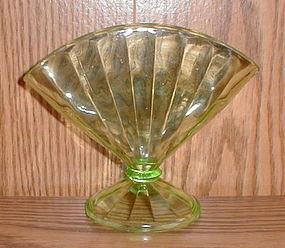 Green Depression Fan Vase