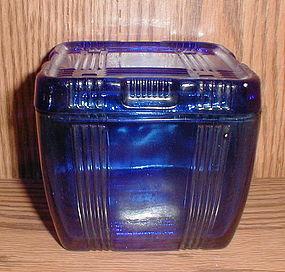 Hazel Atlas Cobalt CRISSCROSS 4 x 4 Refrigerator Dish