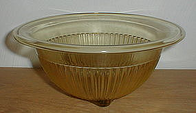 """Amber Ribbed 9 1/2"""" Rolled Edge Mixing Bowl"""