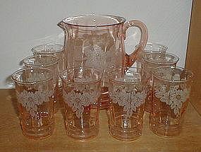 Pink DOGWOOD 9 pc. Water Set