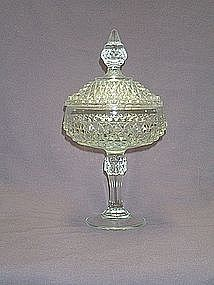 Indiana Glass Diamond Point Crystal Compote/Candy Dish