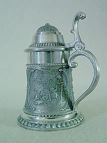 Actina Zinn Miniature Pewter Beer Stein With Lid