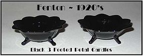 Fenton Black 3 Footed Petal Edge Candles