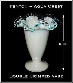 Fenton Aqua Crest Exceptional Double Crimped Vase