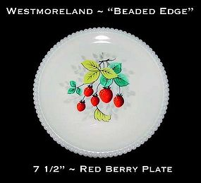 """Westmoreland Beaded Edge """"Red Berry"""" 7 1/2"""" Plate"""