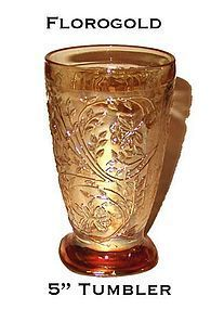 Jeannette Glass ~ Floragold 5 Inch Tumbler