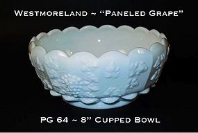 """Westmoreland """"Paneled Grape"""" PG 64 Cupped Ftd 8"""" Bowl"""