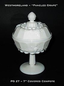 """Westmoreland """"Paneled Grape"""" 7"""" Tall Covered Compote"""