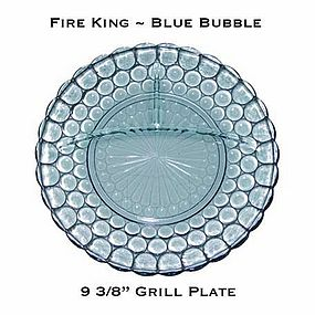"Fire King Blue Bubble 9 3/8"" Divided Grill Plate"