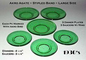 Akro Agate Large Size Stipled Band 6 pc Set