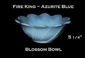 Fire King Azurite Blue Blossom Nut Bowl