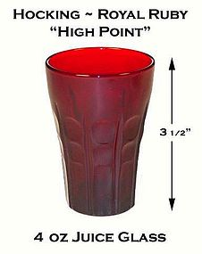 """Fire King Royal Ruby """"High Point"""" 4oz Juice Glass"""