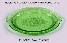 "Hocking ~ Green Cameo ~ ""Dancing Girl"" 11 1/2"" Platter"