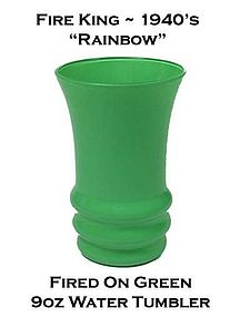 Fire King Rainbow Fired On Green Water Tumbler 1940