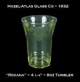 """Hazel-Atlas ~ """"Roxana"""" Golden Topaz 4 1/4"""" 9oz Tumbler"""