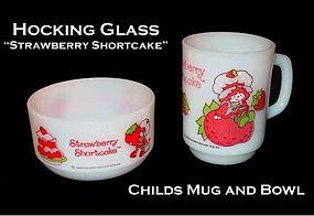 Hocking ~ Strawberry Shortcake Childs Bowl and Mug