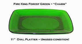 "Fire King Forest Green ""Charm"" 11"" Platter ~ Nice!"