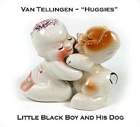 Black Boy & Dog Van Tellingen Huggie S & P Shakers Nice