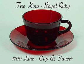 Fire King Royal Ruby 1700 Line Cup and Saucer