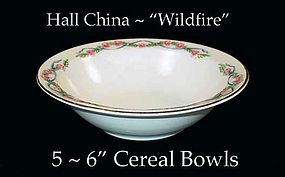 """Hall China Wildfire HTF - Five - 6"""" Cereal Bowls"""