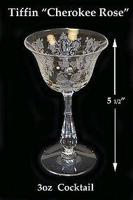 Tiffin Glass ~ CHEROKEE ROSE 3oz Cocktail Goblet