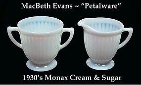 MacBeth-Evans Petalware Monax Cream and Sugar