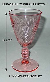 Duncan Miller Pink Spiral Flutes Tall Stem Water Goblet