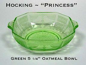 Hocking ~ Green Princess Tab Handled Cereal Bowl