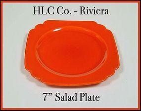 Vintage HLC Genuine Riviera Red 7 inch Salad Plate