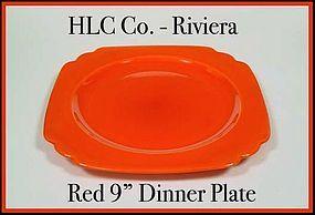 "Vintage HLC Genuine Riviera Red 9"" Dinner Plate"