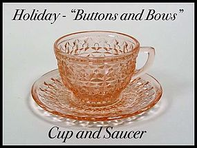 Holiday Buttons and Bows Pink Cup and Saucer