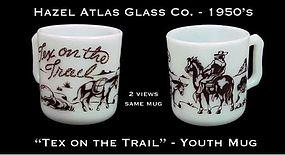 """Hazel Atlas White & Brown """"Tex on Trail"""" Youth Mug"""