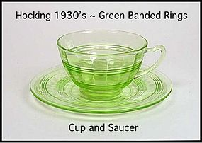 Hocking Green Banded Ring Cup and Saucer