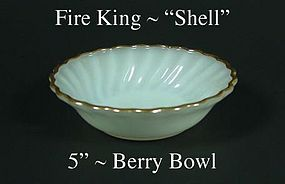 """Fire King White """"Shell"""" 5 inch Berry Bowl-Gold Trim"""