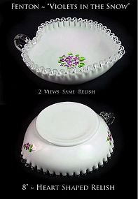 """Fenton Silver Crest """"Violets in the Snow""""-Heart Relish"""