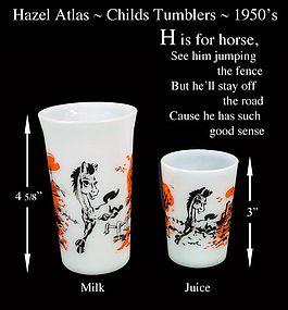 Hazel Atlas ~ H is for HORSE~Juice & Milk Glass