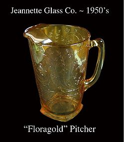 Jeannette Glass~ Floragold Tall Pitcher~Beautiful! 50