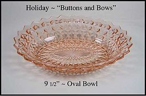 "Holiday ~ ""Buttons and Bows"" 9 1/2 inch Oval Bowl"