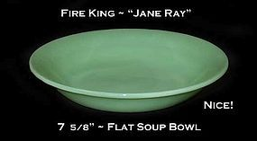 "Fire King Jadeite ""Jane Ray"" 7 5/8"" Flat Soup Bowl"