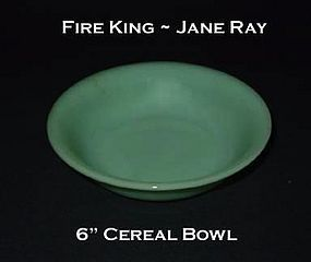 """Fire King Jadeite """"Jane Ray"""" 6"""" Cereal Bowl"""