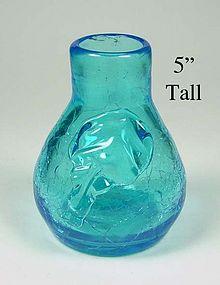 Blenko Crackle Glass ~ 5 inch Ball Vase W/Applied Leaf