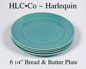 """HLC Harlequin Orig Turquoise 6"""" Bread & Butter Plate"""