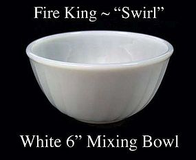 """Fire King White """"Swirl"""" 6 inch Mixing Bowl Signed"""