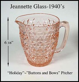 """Jeannette Glass ~ Holiday """"Buttons and Bows"""" Pitcher"""