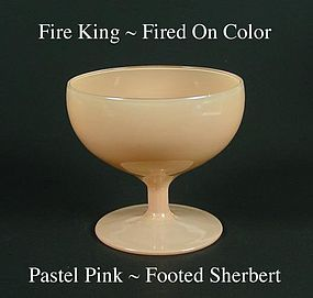 Fire King Fired On Color ~ Pastel Pink Footed Sherbert