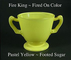 Fire King Fired On Color ~ Pastel Yellow Footed Sugar