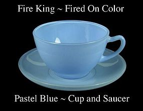 Fire King Fired On Color ~ Pastel Blue Cup & Saucer
