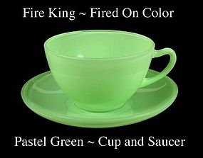 Fire King Fired On Color ~ Pastel Green Cup & Saucer