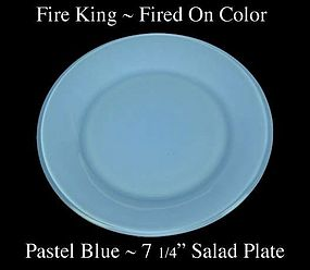 Fire King Fired On Color ~ Pastel Blue Salad Plate