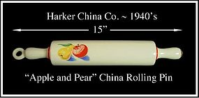 Harker China ~ 1940s ~ Apple & Pear China Rolling Pin